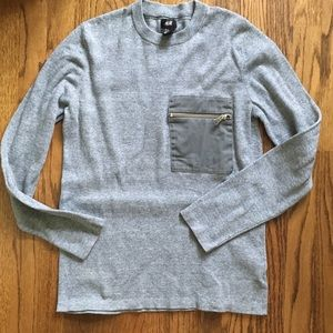 H&M Grey Sweater with Cotton Zipper Pocket S